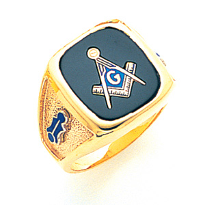 10kt Yellow Gold Jumbo Oblong Blue Lodge Ring - Design Yours