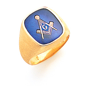 Jumbo Oblong Blue Lodge Ring - 10k Gold