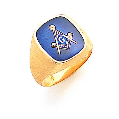 Jumbo Oblong Blue Lodge Ring - 14k Gold
