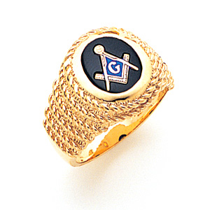 Braided Oval Blue Lodge Ring - 10k Gold