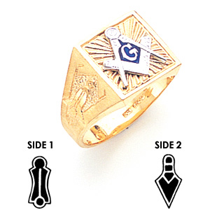 14kt Yellow Gold Square Blue Lodge Ring with Sunburst