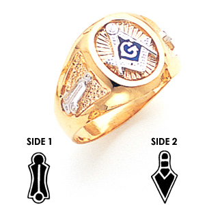14kt Two-tone Gold Oval Medium Blue Lodge Ring