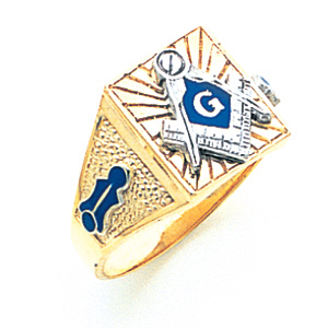 14kt Yellow Gold Lined Blue Lodge Ring - Design Yours