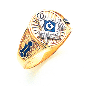 10kt Yellow Gold Oval Blue Lodge Signet Ring