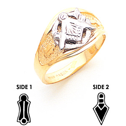 10kt Two-tone Gold Masonic Tapered Wedding Band