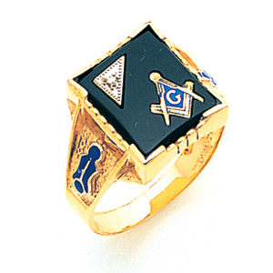 10kt Yellow Gold 3rd Degree Masonic Ring with Diamond