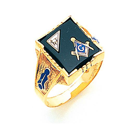 14kt Yellow Gold 3rd Degree Masonic Ring with Diamond