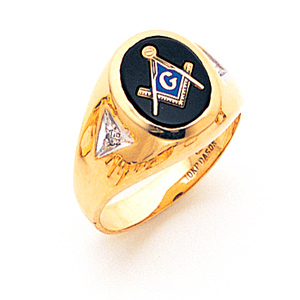 14kt Yellow Gold Masonic Ring with Oval Stone and Diamonds
