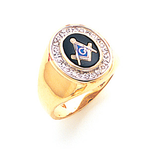 14kt Yellow Gold Diamond Bezel Blue Lodge Ring