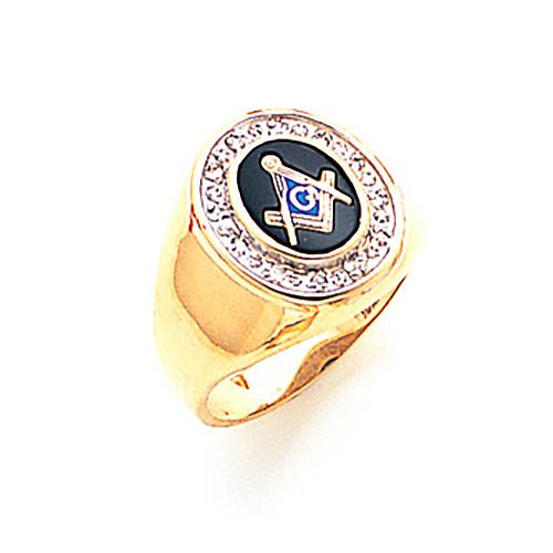 10kt Yellow Gold Diamond Bezel Blue Lodge Ring