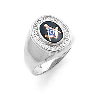 10kt White Gold Diamond Bezel Blue Lodge Ring