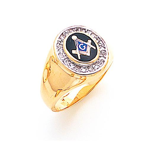 14kt Yellow Gold Blue Lodge Ring 1/8 ct tw Diamond Bezel