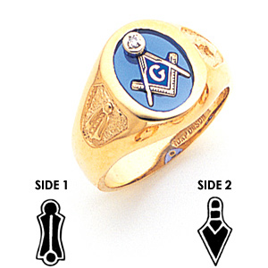 14kt Yellow Gold Masonic Ring with Diamond Accent and Oval Stone