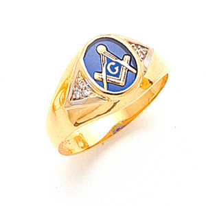 Masonic Blue Lodge Ring with Diamond Accents - 14k Gold