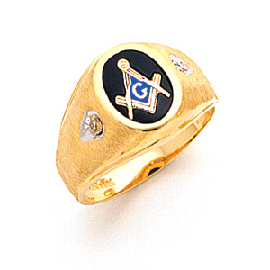 Masonic Blue Lodge Ring with Satin Finish - 14k Gold