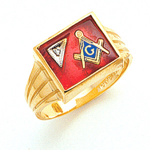 14kt Yellow Gold Rectangular Masonic Ring with Diamond Accent