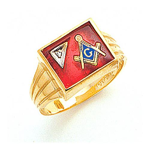 10kt Yellow Gold Rectangular Masonic Ring with Diamond Accent