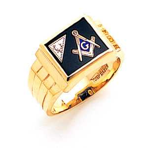 3rd Degree Blue Lodge Ring Diamond - 14k Gold