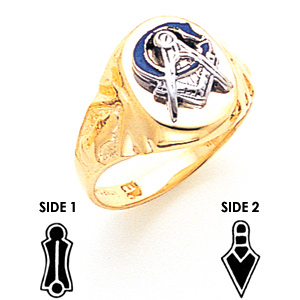 Oval Blue Lodge Ring - 10k Gold