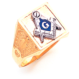 14kt Yellow Gold Square Masonic Ring with Smooth Top