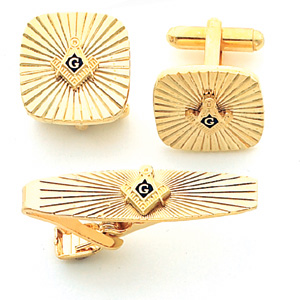 Gold Plated Masonic Cufflinks & Tie Bar Set with Sunburst Design