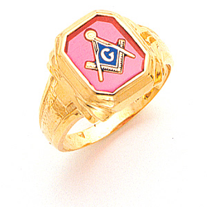 14kt Yellow Gold Masonic Ring with Octagonal Stone