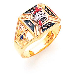Masonic Knights Templar Ring - 14k Gold
