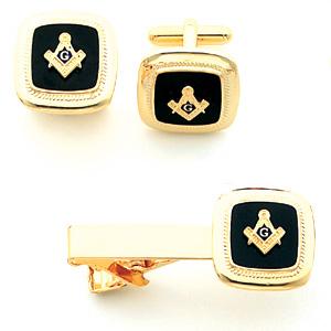 Gold Plated Black Masonic Cufflinks & Tie Bar Set