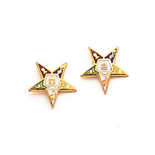 5/16in Eastern Star Stud Earrings - 14k Gold
