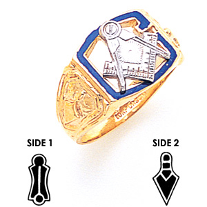 14kt Yellow Gold Masonic Ring with Open Top