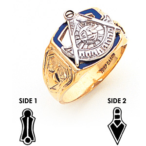 14kt Yellow Gold Past Master Mason Ring with Blue Enamel G