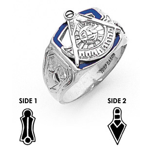 10kt White Gold Past Master Mason Ring