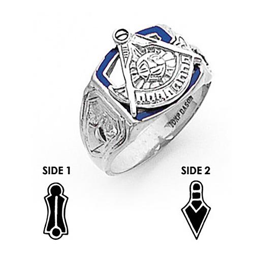 14kt White Gold Past Master Mason Ring