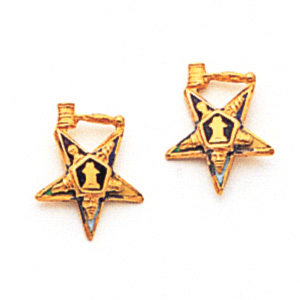 7/16in Eastern Star Past Matron Earrings - 10k Gold