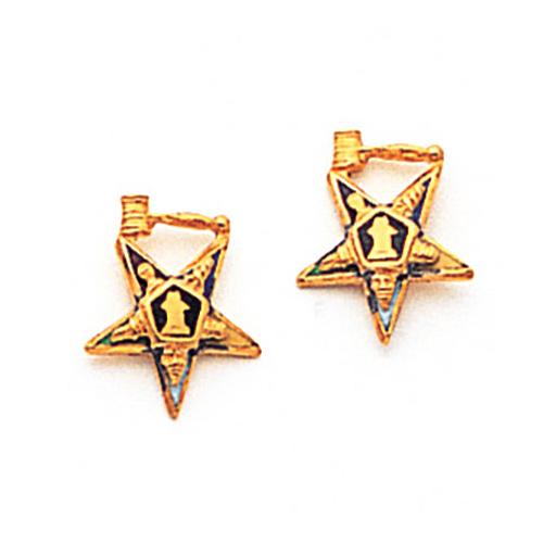 7/16in Eastern Star Past Matron Earrings - 10k Gold