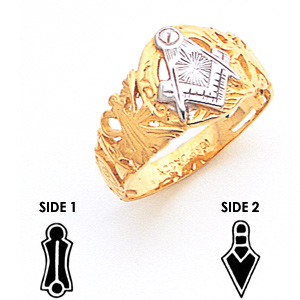 10kt Two Tone Gold Blue Lodge Ring