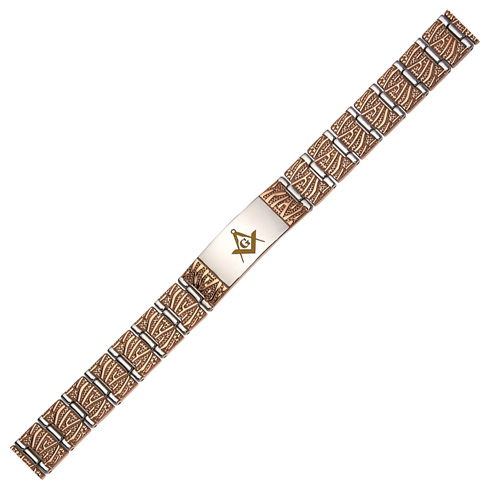 Gold-plated Stainless Steel 8in Masonic ID Bracelet