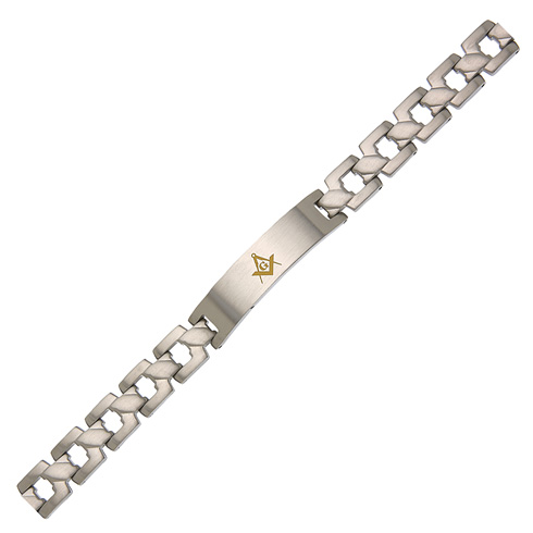 Stainless Steel 8in Masonic Brushed ID Bracelet