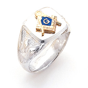 Sterling Silver Masonic Ring with Smooth Top