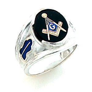 Sterling Silver Large Oval Blue Lodge Ring
