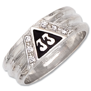 Sterling Silver 33 Degree Masonic Ring with CZ Accents