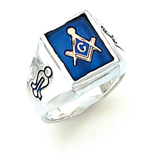 Sterling Silver Masonic Ring with Outlined Emblems