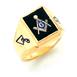 Vermeil Masonic Ring with Outlined Emblems