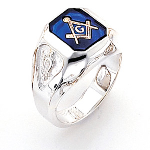 Sterling Silver Octagonal Blue Lodge Ring