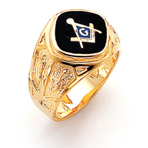 Vermeil Blue Lodge Ring with Combo Emblems