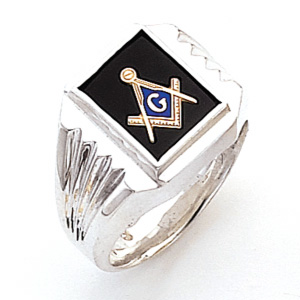 Sterling Silver Masonic Ring with Tapered Grooved Sides
