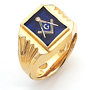 Vermeil Masonic Ring with Tapered Grooved Sides