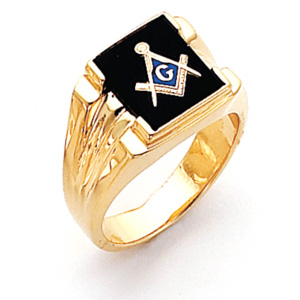 10kt Yellow Gold Rectangular Masonic Ring with Grooved Sides