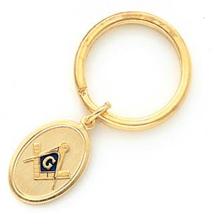 Masonic Key Ring - Yellow Gold Plated