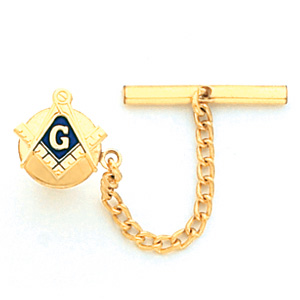 Yellow Gold Plated Masonic Tie Tac and Chain